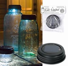 Primitive Country Mason Jar Solar Lid Lights.   Indoor Outdoor Pathway Luminary.  I have these on my deck with smooth rocks inside and I love them.  They are available at Kruenpeeper Creek.