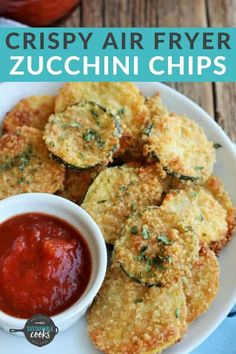 Make amazing and air fryer zucchini chips for your family with this versatile recipe! Options include oven-fried, air fryer, or even the toaster oven. Air Fryer Recipes Chips, Air Fryer Recipes Low Carb, Air Fryer Dinner Recipes, Air Fry Recipes, Recipes Dinner, Meat Recipes, Breakfast Recipes, Fried Zucchini Recipes, Parmesan Zucchini Chips