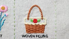 woven filling stitch basket hand embroidery Hand Embroidery, Straw Bag, Stitches, Basket, Stitching, Stitch, Dots, Stricken, Embroidery