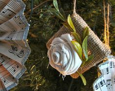 Sweet little muslin rose on a stretched burlap frame!