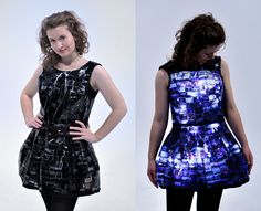 A design student in New Zealand creates a light-up photographic dress using Kodachrome, LEDs, and a LilyPad Arduino.