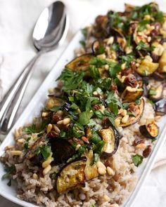 Roasted Eggplant with Pine Nuts & Raisins | Big Girls Small Kitchen