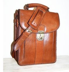 Caramelbrown Leather Messenger Bag Leather by chicleather on Etsy, $139.00