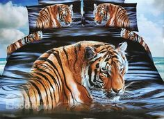 Imperial Tiger Print 4-Piece Polyester #3D Duvet Cover #bedroom #decor