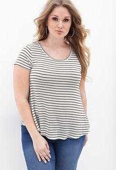 Plus Size Striped Knit Top
