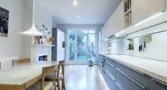 A blue satin lacquer German kitchen in Crouch End, London. The worktop is laminate and the appliances are Siemens. This is one of our recent projects. Crouch End, Interior Design Gallery, German Kitchen, Blue Satin, Lounge, Projects, Home Decor, Airport Lounge, Log Projects