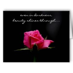"""""""even in darkness, beauty shines through..."""" Perfect red rose on black background (large card, suitable for framing)"""