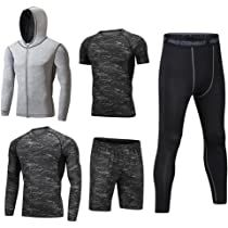 Herren Fitness Kompressions T-Shirt Top Hose Sport Gym Jogging Funktionswäschen