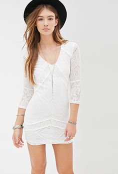 White Crochet Lace Mini Dress | FOREVER21 - 2000066766 $25