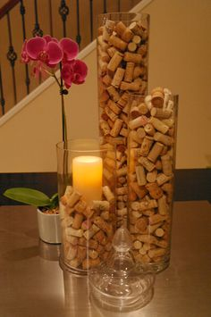 Every bottle of wine I open during our married life, the cork will go into a vase :D Wine Cork Centerpiece, Wine Cork Candle, Wine Cork Art, Centerpieces, Candle Decorations, Wine Party Decorations, Wine Cork Holder, Wine Corks, Wine Craft