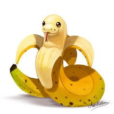 creature doodle 18 banana snake by ArtKitt-Creations # Cute Fantasy Creatures, Mythical Creatures Art, Cute Creatures, Snake Drawing, Snake Art, Cute Kawaii Animals, Cute Animal Drawings Kawaii, Cute Food Drawings, Cool Art Drawings