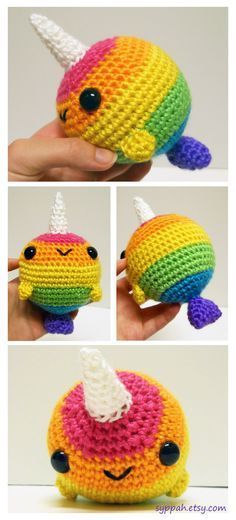 "Rainbow narwhal made me think we could do a ""special"" label of a rainbow bee for pride/shops inside the gay village? Not only would we be more likely to sell more, it also promotes the cathedral as open-minded & friendly etc etc. Plus eighth day cafe (veg Kawaii Crochet, Cute Crochet, Crochet Crafts, Yarn Crafts, Crochet Toys, Knit Crochet, Amigurumi Patterns, Knitting Patterns, Crochet Patterns"