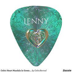 Celtic Heart Mandala In Green Gold Guitar Pick