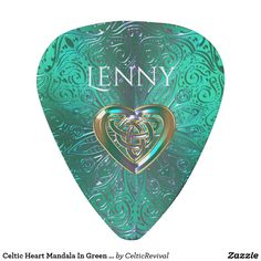 Celtic Heart Mandala In Green Gold Guitar Pick