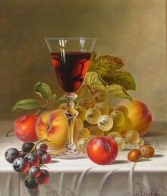 """""""Still Life with Red Wine & Fruit"""" by Roy Hodrien Fruit Painting, China Painting, Mosaic Pictures, Pictures To Paint, Foto Transfer, Still Life Fruit, Wine Art, Painting Still Life, Fruit Art"""