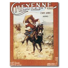 Shop Cheyenne Vintage Cowgirl Song Sheet Music Art Postcard created by blueskygiftshop. Personalize it with photos & text or purchase as is! Old Sheet Music, Song Sheet, Vintage Sheet Music, Western Photo, Western Art, Western Theme, Vintage Cowgirl, Music Covers, Magazine Art