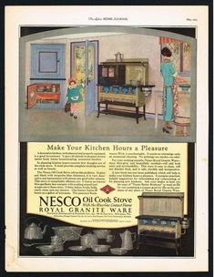 NESCO OIL COOK STOVE AD HOME ADVERTISING Original 1925 Vintage Print Ad*Retro #NESCO #ORIGINALVINTAGEPRINTADVERTISING Print Advertising, Print Ads, Vintage Kitchen Appliances, Ad Home, Blue Contacts, Old Paper, Vintage Prints, Ebay, Make It Yourself
