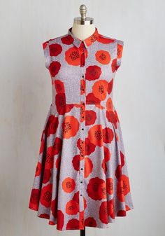 Come on, Get Poppy Dress. Spirits soar as passersby spot you living up every moment in this floral shirt dress by Dear Creatures. #multi #modcloth