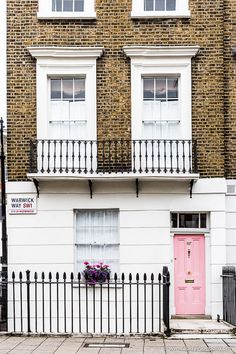 A pretty pink door in Pimlico, London. Pimlico is an underrated part of the city, and it's a great place to stay in London. Front Door Paint Colors, Painted Front Doors, London Tours, London Travel, Bridgewater House, Gothic Buildings, Destinations, London Apartment, Things To Do In London