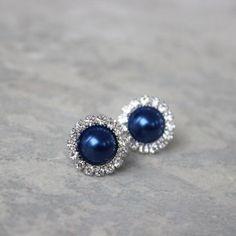 Navy Blue Bridesmaid Jewelry Navy Blue Earrings Bridesmaid