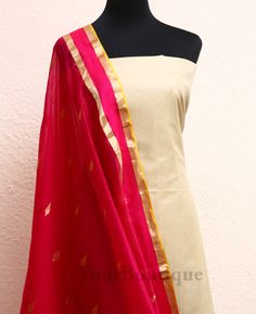 SH025-5 Asam silk top and bottom with chanderi dupatta.