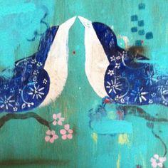 Detail, Lovebird series, 5 panels. Painting by Kathe Fraga www.kathefraga.com