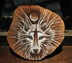 One of a Kind - ORIGINAL Artwork painted Wolf on a Rustic Tree trunk slice created from a Salvaged, Natural oak tree which has been professionally cut, planed,