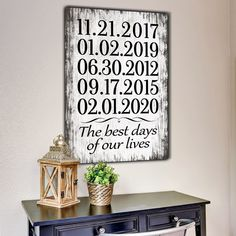"BRAND NEW!! For a limited time - add your chosen dates at NO EXTRA COST!  ""The best days of our lives"" Quote on a beautiful wooden image backdrop, premium printed canvas.    ADD YOUR DATES, SELECT YOUR REQUIRED SIZE THEN CLICK ""ADD TO CART"" TO BUY  Limited time run of this print! Be sure to order while you can!   	 Proudly made in the USA  	Our canvases are delivered ready to hang!  Stretched on a wood frame around a 0.75″ thick wood frame 	Lightweight yet strong frame  Easy to hang - No…"
