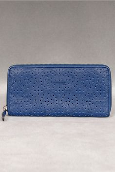 Love the detail & the blue. Coach Madison Lace Leather Accordian Zip Wallet In Navy