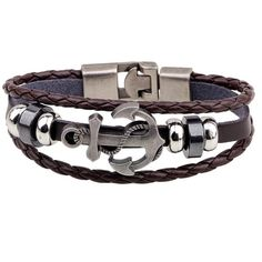 Stylish Anchor Knitted Layered Strand Bracelet - COFFEE