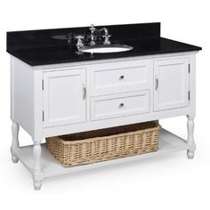 Beverly Bathroom Vanity (Black/White): Includes a White Cabinet, Soft Close Drawers, a Granite Countertop, and Two Ceramic Sinks White Cabinets With Granite, Black Granite Countertops, Solid Wood Cabinets, Granite Stone, Bathroom Sink Faucets, Bathroom Renos, Bathroom Ideas, Master Bathroom, Bathroom Updates