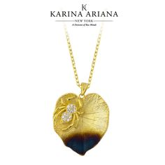 Spider on Hydrangea Leaf Pendant Shown with Burnt Detailing and CZ Accents KAP-B604 $150 #KarinaAriana #sterlingsilver #Ember #Passion #fashion #jewelry #pendant #necklace