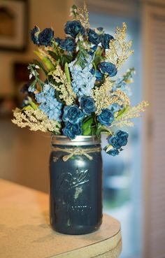 Mason Jar Painted Vase with Light blue and Navy Silk Flowers on Etsy, $59.95
