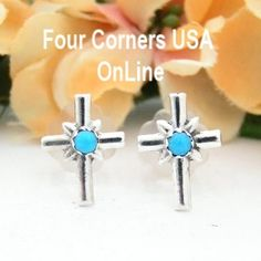 Four Corners USA Online - Turquoise Sterling Cross Center Post Earrings Native American Silver Jewelry by Lorraine Chee, $17.00 (http://stores.fourcornersusaonline.com/turquoise-sterling-cross-center-post-earrings-native-american-silver-jewelry-by-lorraine-chee/)