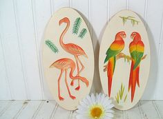 Relief Colorful Tropical Birds ChalkWare Plaque Set - Vintage Miller Studio Style Plaster Work Duo - Shabby Chic Cottage Wall Decor $39.00 by DivineOrders