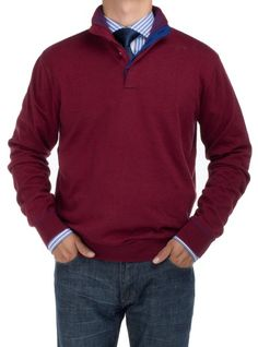 Looks Nice! Available Colors: Black, Charcoal, Light Gray, Royal Blue, DK Green, Burgundy Bianco B Men's Mock Neck 1/4 Button Sweater Relaxed Fit Burgundy