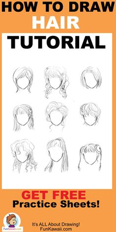 How to Draw Hair Anime Women- Free Printable Practice Sheets! Doodle For Beginners, Drawing Tutorials For Beginners, Art Tutorials, Manga Girl Drawing, Woman Drawing, Drawing Poses, Drawing Tips, Drawing Ideas, Easy Drawings For Kids