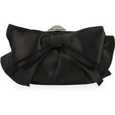 Judith Leiber Couture Madison Satin Bow Evening Clutch Bag ($2,120) ❤ liked on Polyvore featuring bags, handbags, clutches, silver black, cocktail purse, chain handle handbags, judith leiber purses, special occasion clutches and evening purse