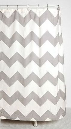 Shower Curtain- grey chevron for Grey and yellow bathroom
