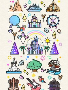 'Happiest Place on Earth Collection. It's a Small World, Haunted Mansion, Princess Castle, Manatee, Ferris Wheel Theme Park.' T-Shirt by tachadesigns - Disney drawings - Disney Doodles, Disney Collage, Disney Kunst, Disney Art, Walt Disney, Cute Disney Drawings, Cute Drawings, Chalk Drawings, Manga Posen