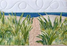Walk to the Beach Quilted Postcard Fabric Postcard by SewUpscale, $12.00