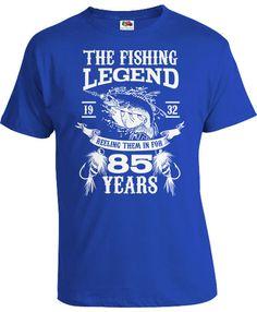 85th Birthday Shirt Outdoorsman Gift Bday Present For Him Fishing T Shirt Grandpa Birthday The Fishing Legend 85 Year Old Mens Tee DAT-1081