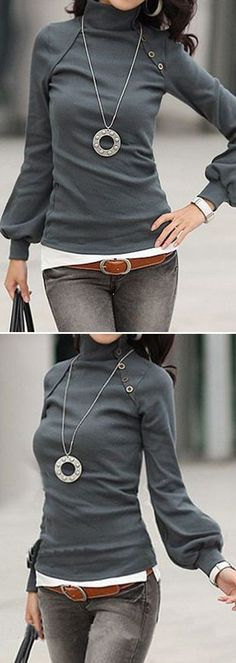 Getting ready for spring. Gray turtleneck sweater with blouson sleeves, long pendant necklace, favorite jeans, brown belt. Women's Style for winter or early spring #ad #ootd #weekendstyle #accessories #womensfashion #necklace