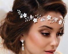 Vid de pelo nupcial corona de flores nupcial por MaijasWeddingBliss