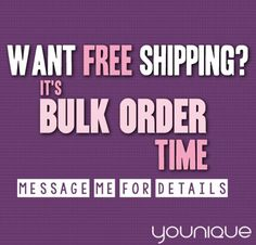 Ladies ladies ladies! Do you hate having to pay for shipping? Well, lets shop for a BULK order and you will get FREE SHIPPING! Click on the photo and get your FREE SHIPPING!