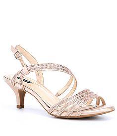 Lucie Metallic Leather Rhinestone Embellished Slingback Dress Sandals XGCSUwZX