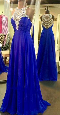 Royal Blue Prom Dresses with Sparkle Beads, Pretty Illusion Prom Dresses, High neck Chiffon Beaded Prom Dresses