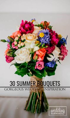 Summer Wedding Bouquets ❤ Summer brides are lucky to have the most beautiful flowers in season for their wedding bouquet.