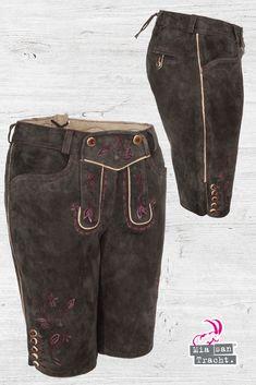 Trachten Hose Damen Kurz in Farbe Olive mit sehr schöne Bunte Stickerei