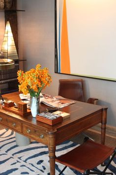 David Scott's study in the 2012 Kips Bay NYC showhouse- click through for a fantastic recap by @Patrick J Hamilton of Ask Patrick!  (Silk zebra rug from Carini Lang.)